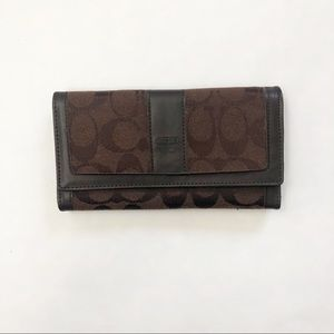 Coach Signature Large Trifold Brown Wallet